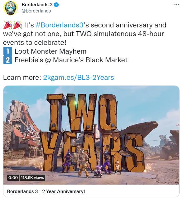 《无主之地3》庆祝发售两周年 两款纪念活动同时上线