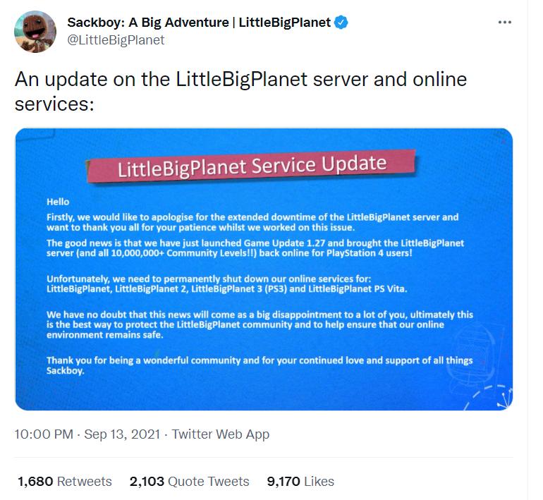 索尼宣布《小小大星球》服务器将永久关闭 老玩家落泪