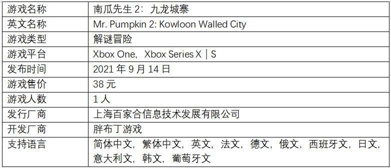 胖布丁好评解谜冒险《南瓜先生2:九龙城寨》现已登陆Xbox!初代同捆包超值上架!