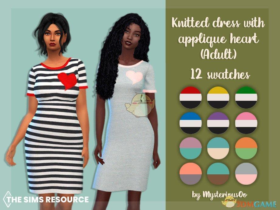 《模拟人生4》女性爱心条纹可爱连衣裙MOD