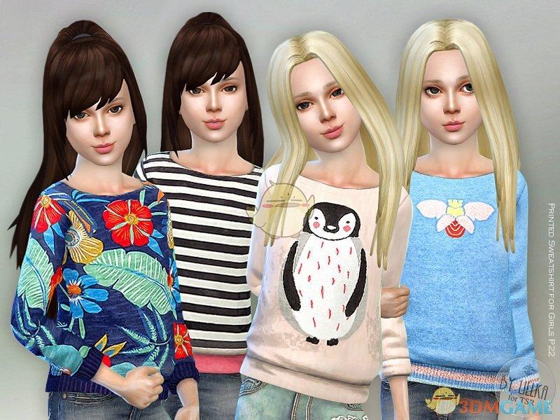 《模拟人生4》女童印花卡通运动衫MOD