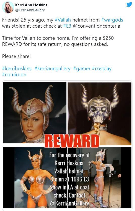 初代真人快打女演员悬赏250美元 拟找回25年前丢失的Cos头盔