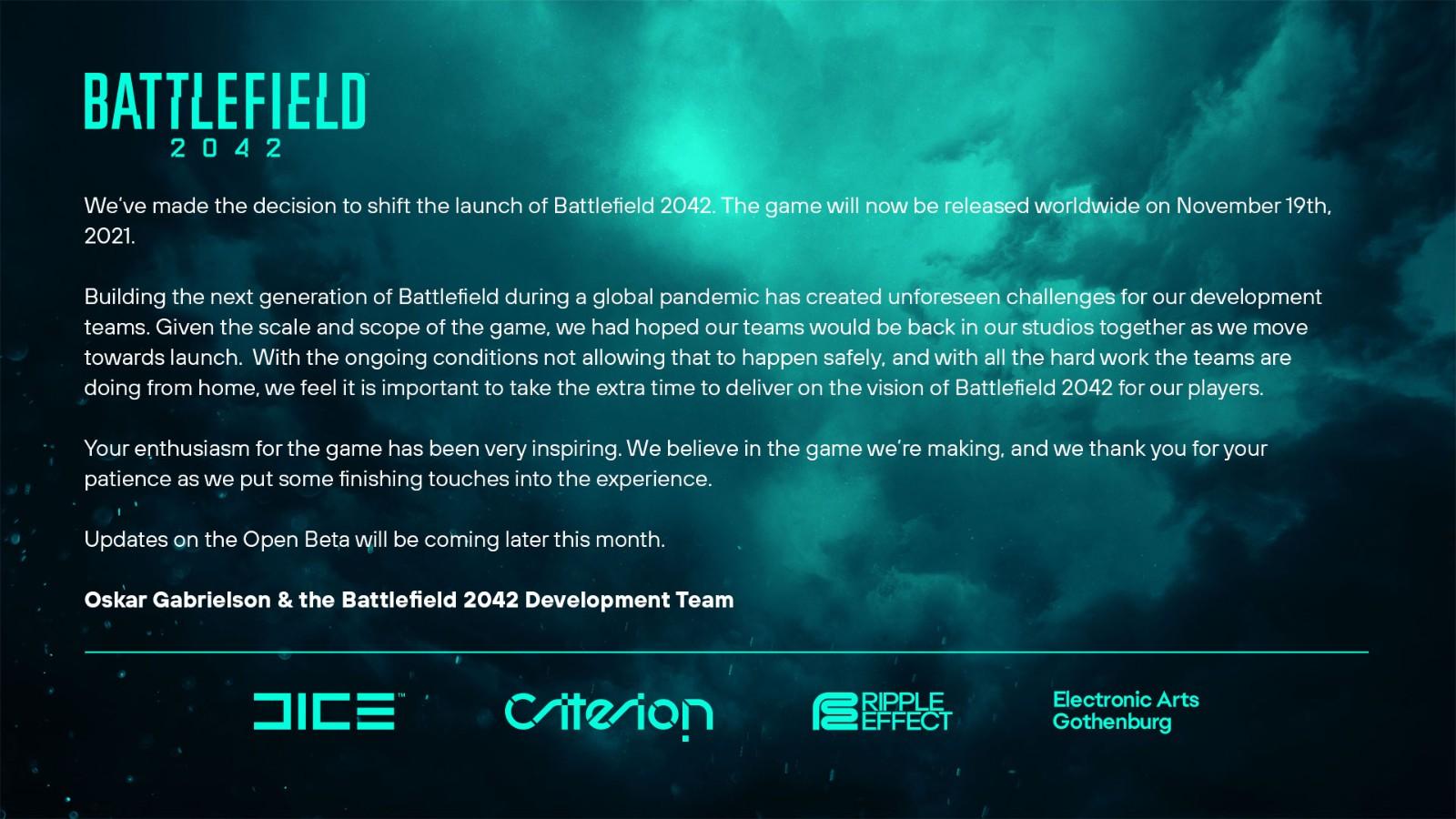TH泄露《战地2042》将于10月6日抢先体验 发售日期延至11月19日