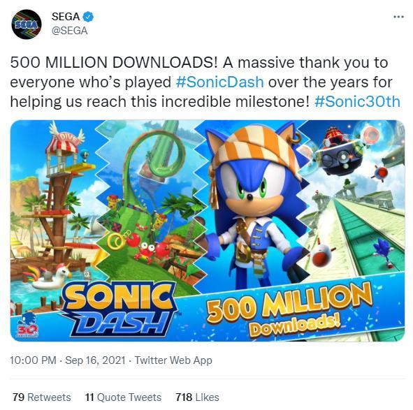 《索尼克冲刺》全球下载次数已超5亿次 游戏特殊活动开启插图1