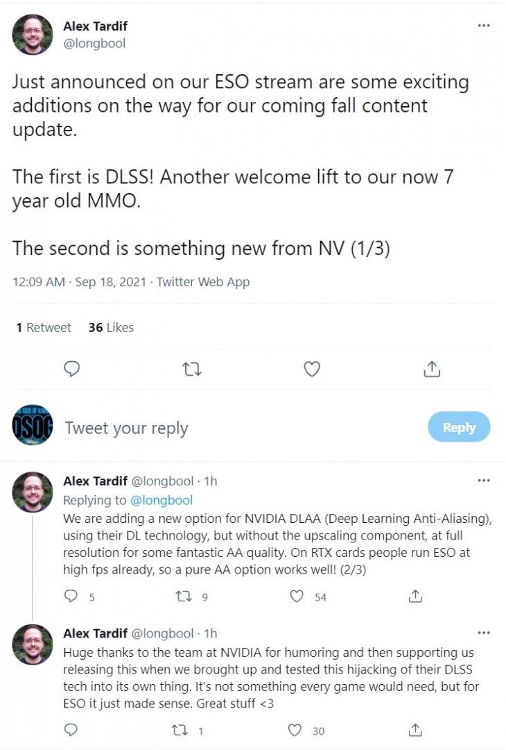 《上古卷轴OL》确认支持DLAA和DLSS