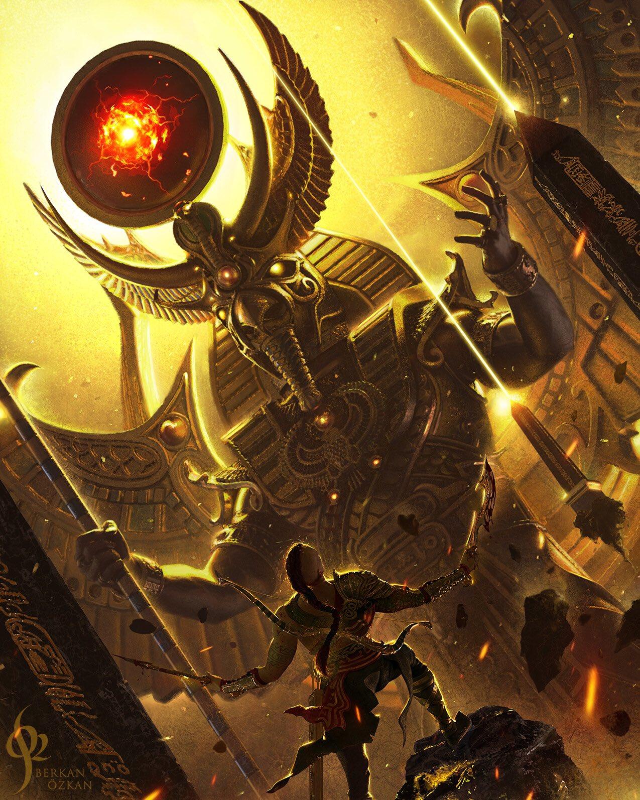 粉丝绘制《战神6》艺术图 奎爷霸气大战埃及神插图5