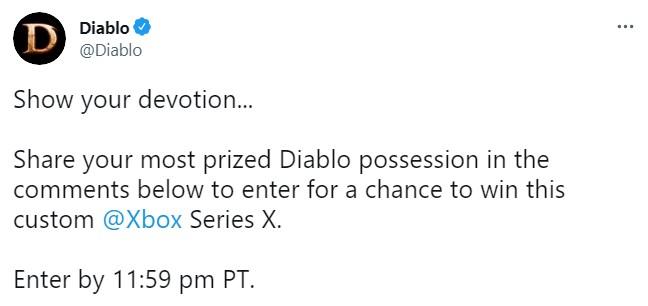 《暗黑破坏神2:重制版》限定版Xbox Series X主机 将在推特评论中抽奖赠送
