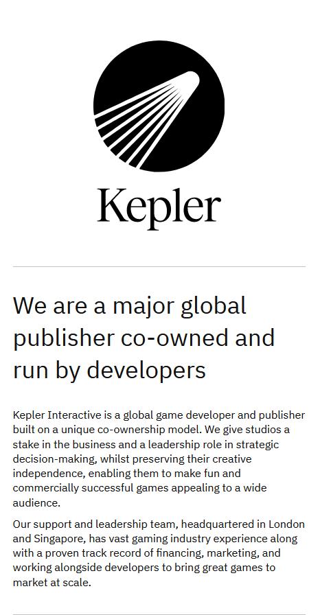 全新游戏发行商Kepler互动获网易1.2亿美金投资 团队分布全球10个国家及地区