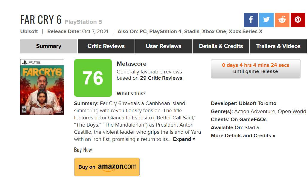 《孤岛惊魂6》将于10月7日零点解锁 IGN 8分 GS 7分