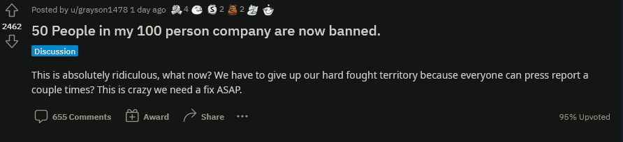 《新世界》玩家通过举报封禁对手来赢得对战活动