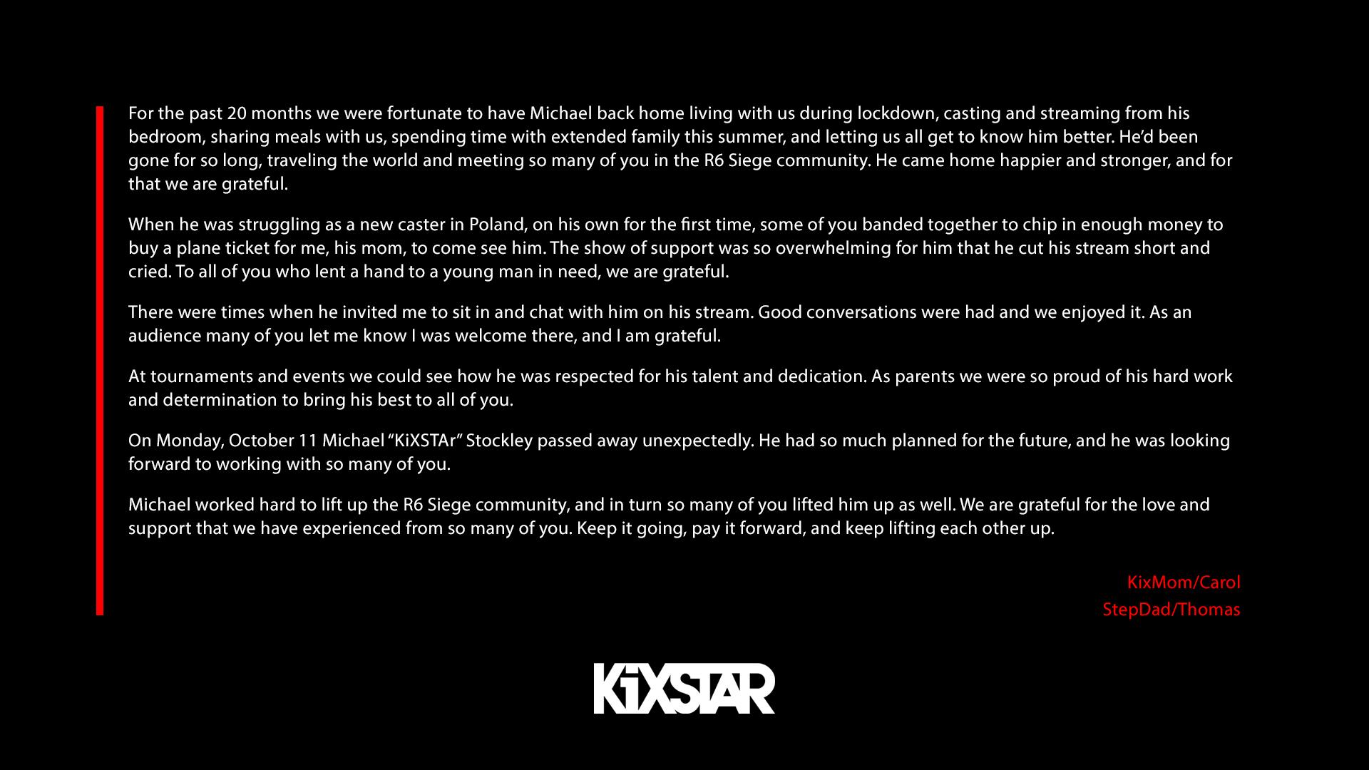 《彩虹六号:围攻》解说员KiXSTAr突发车祸 英年早逝仅24岁