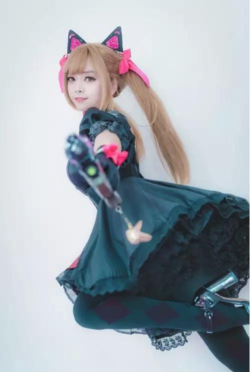 """韩国妹子""""티티클""""本色COS 黑猫装扮娇俏迷人  cosplay写真"""