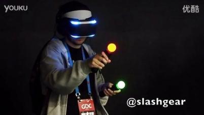 头戴显示屏手持振动棒 索尼PS4用扩增现实头盔试玩