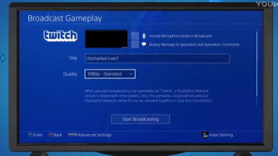 PS4固件5.0 Twitch直播1080p功能